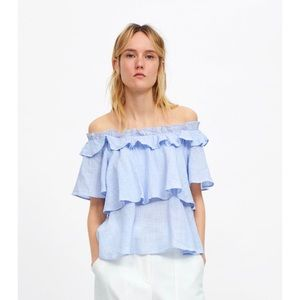 ZARA Off Shoulder Sky Blue Blouse Size Small NWT
